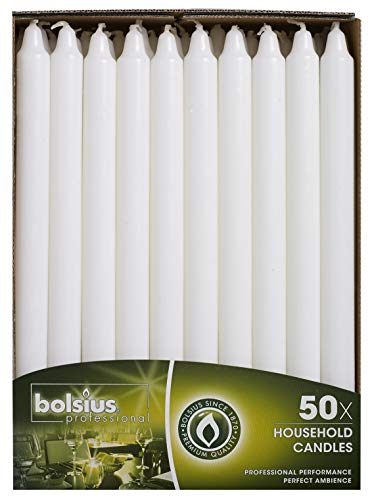 Bolsius Straight Unscented White Candles Pack of 50-11-inch Long Candles - 12 Hour Long Burning Candles - Perfect for Emergency Candles, Chime Candles, Table Candles for Wedding, Dinner, Christmas