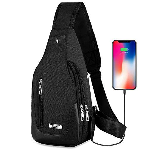 DOUN Lightweight Casual Canvas Unbalance Backpack Crossbody Sling Shoulder Bag Chest Bag with USB Charging Port for Men women (Black)