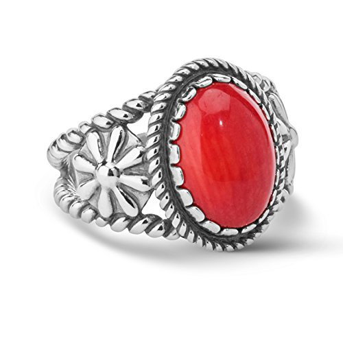 American West Sterling Silver Red Coral Gemstone Ring Size 5