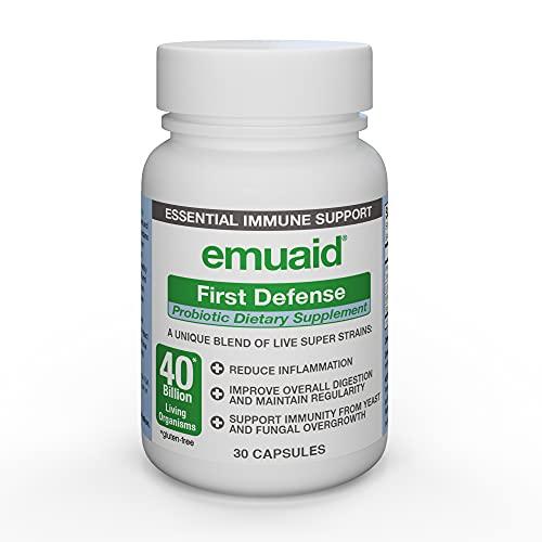 EMUAID First Defense Probiotic 30 Capsules - Probiotics Dietary Supplement containing Lactobacillus Acidophilus, Bifidobacterium Bifidum, Streptococcus Thermophilus for Health, Digestion, Bloating