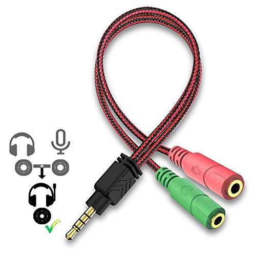Headphones Y Splitter Audio 2 Female to 1 Male 3.5mm Jack Cable Professional Gaming Headset USB Adapter Kit Mutual Convertors for Laptop, Mac, PS4, Smartphone, Xbox One, Tablet