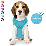 BARKBAY No Pull Dog Harness Front Clip Heavy Duty Reflective Easy Control Handle for Large Dog Walking with ID tag Pocket(Blue,M)