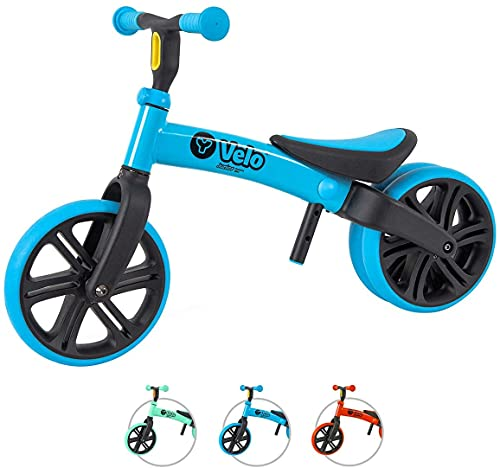Yvolution Y Velo Toddler Balance Bike | 9' No-Pedal Learning Bike for Kids Age 18 Months to 5 Years (Blue)