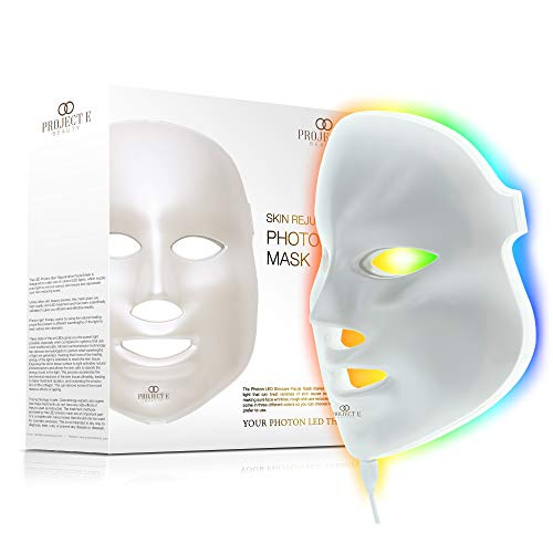 Project E Beauty LED Face Mask Light Therapy   7 Color Skin Rejuvenation Therapy LED Photon Mask Light Facial Skin Care Anti Aging Skin Tightening Wrinkles Toning Mask