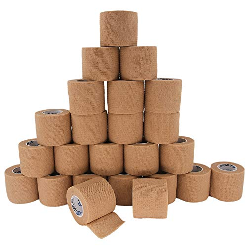Self Adherent Cohesive Bandages Wrap 24 Count 2' x 5 Yards, Medical Tape, Adhesive Flexible Breathable First Aid Non Woven Rolls, Stretch Athletic, Ankle Sprains & Swelling, Sports