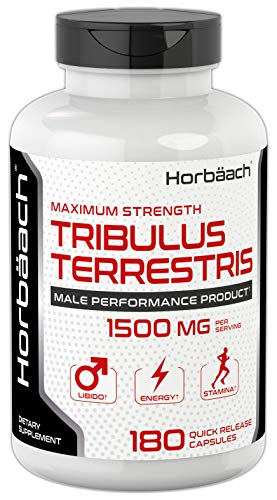 Tribulus Terrestris for Men 1500mg | 180 Capsules Non-GMO, Gluten Free Extract Supplement | by Horbaach