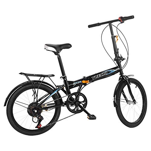 Mountain Bike for Youth and Adult, 20in Carbon Steel Mountain Bike, Mini Foldable Fashion Student Bicycle Full Suspension MTB, Lightweight and More Durable (Black)