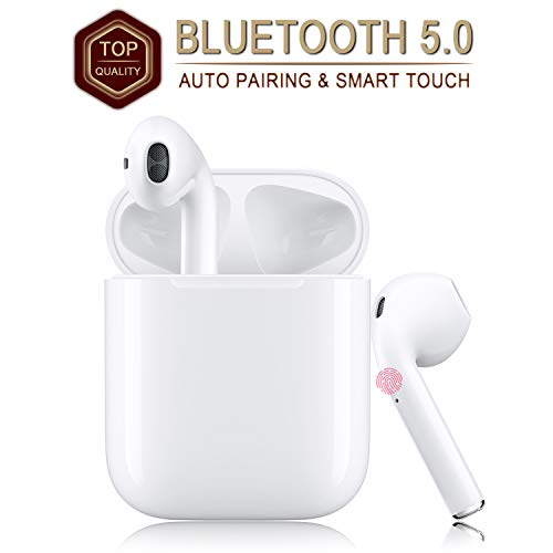 Wireless Earbuds Bluetooth 5.0 Headsets with【12Hrs Charging Case】 IPX5 Waterproof, 3D Stereo Headphones in-Ear Ear Buds Built-in Mic, Pop-ups Auto Pairing for Android/iPhone Samsung