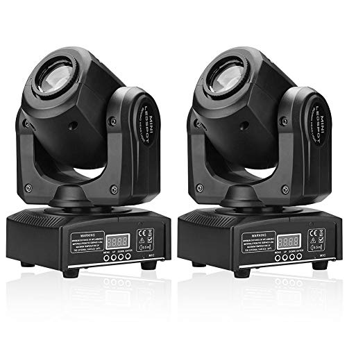 U`King 2PCS Stage Lights Moving Head Light 8 Gobos 8 Colors 11 Channels 25W Spotlight DMX 512 with Sound Activated for Wedding DJ Party Stage Lighting