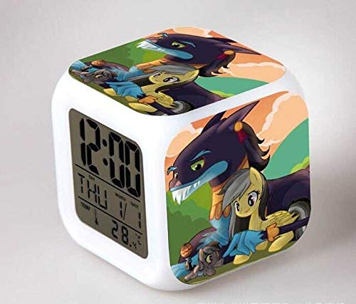 N/J Birthday Presents for The Children's Bedroom My Little Pony Night Light LED 7 Color Flash Changing Digital Alarm Clocks Bedroom Wake Up Clock Rainbow Dash,Silver