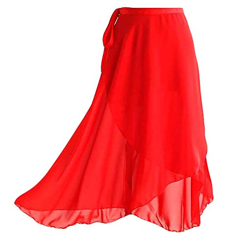Adult Ladies Ballet Skirt Wrap Over Scarf Dance Leotard Skate Tutu Skirt Asymmetric Chiffon Ballet Skirt,Red, 80cm