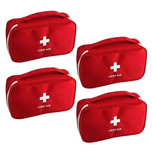 4Pcs First Aid Kit Empty Bag Vankcp Large Portable Medical Empty Bag Emergency Survival Storage Bag for Camping Sport Travel Office School Home (Red)