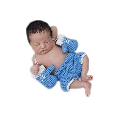 Newborn Monthly Baby Photo Props Boxing Champion Gloves with Pants Set for Boys Girls Photography (Blue)