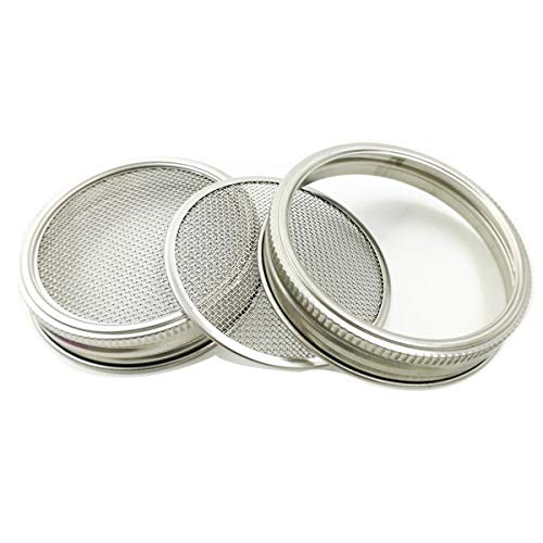 2 Pack Stainless Steel Sprouting Lids - 2 in 1 Superb Ventilation Stainless Mesh Jar Sprouting Lid Kit for Wide Mouth Mason Jars Canning Jars for Making Organic Sprout Seeds in House/Kitchen