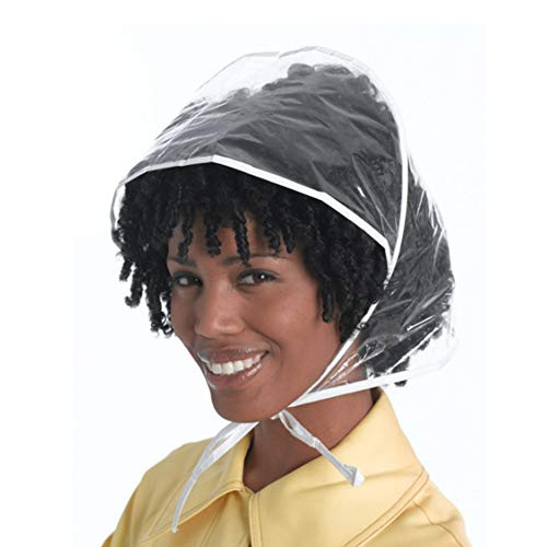 Ozzptuu 12 Pcs Waterproof Clear Rain Bonnet Hats with Visor for Lady Hair Protection