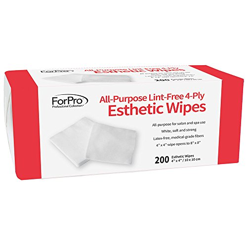 """ForPro All-Purpose Lint-Free 4-Ply Esthetic Wipes - Non-Woven - For Salon and Spa Use- Soft, Strong and Durable- Latex-Free – Medical-Grade Fibers - 4"""" x 4"""" - 200-Count"""