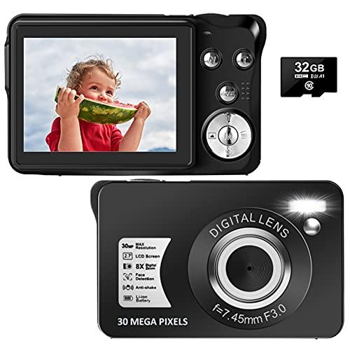 Digital Camera, 30MP 1080P Vlogging Camera Rechargeable YouTube Camera with 2.7' Screen, 8X Digital Zoom Compact Mini Blogging Camera Pocket Camera