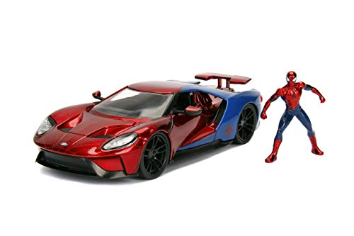 Jada Toys Marvel 1:24 2017 Ford GT Die-cast Car with 2.75' Spider-Man Figure, Toys for Kids and Adults, Red/Blue (99725)