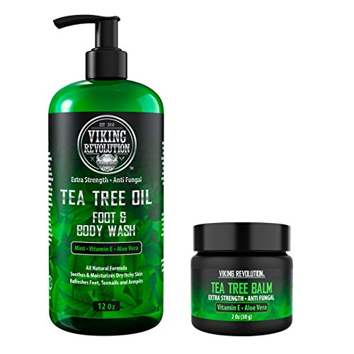 Antifungal Tea Tree Kit for Men - Tea Tree Oil Set with Body Wash & Antifungal Balm - Helps Athlete's Foot, Toenail Fungus, Jock Itch, Eczema, Ringworm & Body Odors - Extra Strength