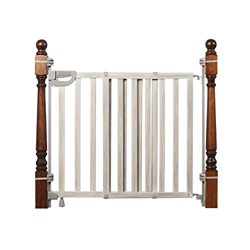 """Summer Wood Banister and Stair Safety Baby Gate, Birch Stain with Gray Accents – 33"""" Tall, Fits Openings of 33"""" to 46"""" Wide, Extra-Wide Door Opens Full Width of Stairway, Convenient Baby and Pet Gate"""