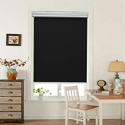 HOMEDEMO Window Blinds and Shades Blackout Roller Shades Cordless and Room Darkening Blinds Black 27' W x 72' H for Windows, Bedroom, Home