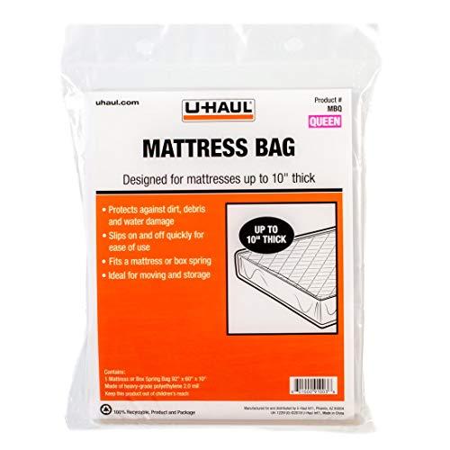 U-Haul Standard Queen Mattress Bag – Moving & Storage Cover for Mattress or Box Spring – 92' x 60' x 10'