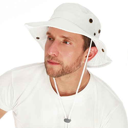 The Hat Depot 300N1510 Wide Brim Foldable Double-Sided Outdoor Boonie Bucket Hat (L/XL, 2. Cotton - White)