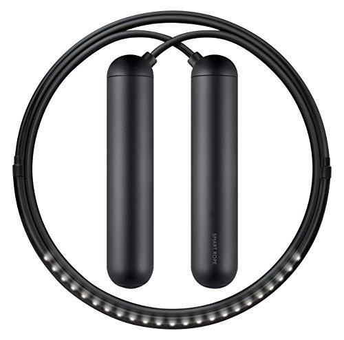 Tangram Factory - Smart Rope - LED Embeded Jump Rope - Displays Progress in Air - Black, S