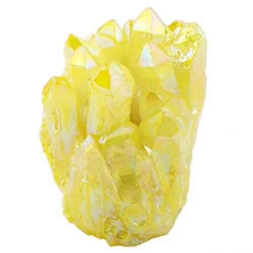 SUNYIK Lemon Yellow Titanium Coated Crystal Cluster,Quartz Gede Drusy Gemstone Specimen(0.2-0.3lb)