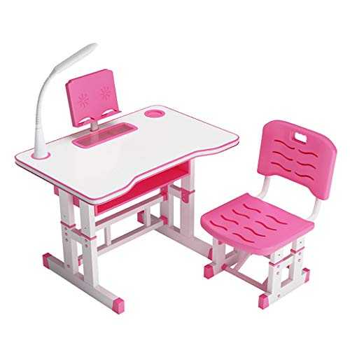 OCCOKO Kids Desk and Chair Set, Height Adjustable Childrens Study Table,Multifunctional School Students Writing Drawing Desk (A-Pink, 80x40cm)