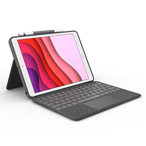 Logitech Combo Touch for iPad (7th and 8th Generation) Keyboard case with trackpad, Wireless Keyboard, and Smart Connector Technology – Graphite