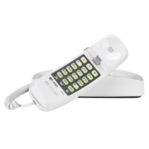 Advanced American Telephones 210WH AT&T 210M Basic Trimline Corded Phone, No AC Power Required, Wall-Mountable, White