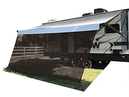 Tentproinc RV Awning Sun Shade Screen 8' X 12'3'' - Brown Mesh Sunshade UV Blocker Complete Kits Motorhome Camping Trailer Canopy Shelter - 3 Years Limited Warranty