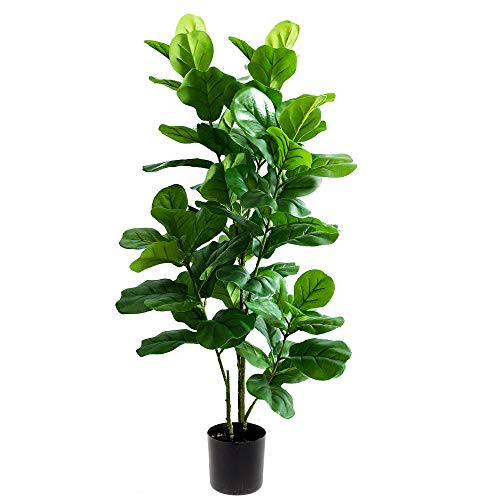 momoplant Artificial Fiddle Leaf Fig Tree - 3.3 Feet Faux Tropical Lyrata Ficus 43 Inch Fake Green Fiddleleaf Feaux Plants in Black Pot for Indoor Outdoor Home Decor