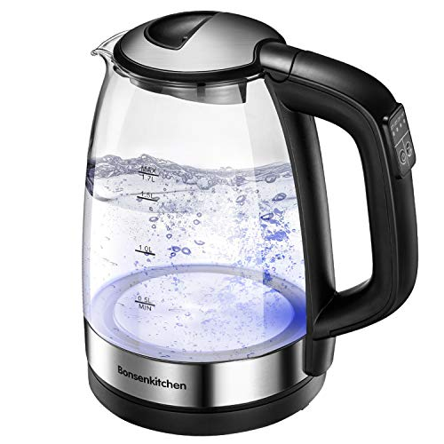 1.7L Glass Electric Hot Water Kettle, 1500W Fast Heating for Tea and Coffee, Bonsenkitchen Portable Water Boiler with Keep Warm Function, Electric Tea Kettles Automatic Shut Off & Boil Dry Protection