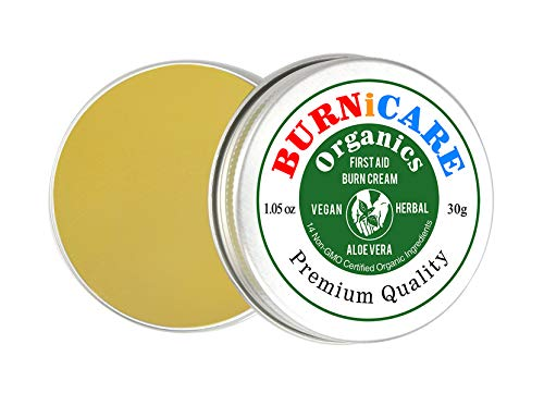 Burnicare Organics Burn Cream, First Aid, Vegan, 30 Grams Tin, Aloe Vera, 5 Herbs, Fast Pain Relief, Minor Wounds, Soothes Itching, Cuts, Scrapes, Bruises