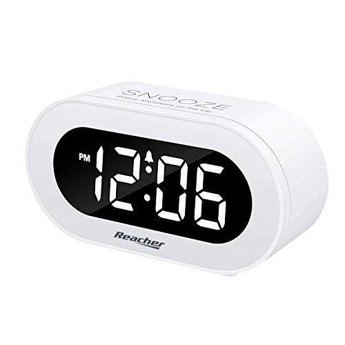 REACHER Small LED Digital Alarm Clock with Snooze, Simple to Operate, Full Range Brightness Dimmer, Adjustable Alarm Volume, Outlet Powered Compact Clock for Bedrooms, Bedside, Desk, Shelf(White)