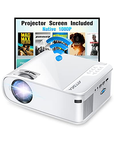 Projector, ARTSEA 5G WiFi Projector W25 Native 1080P Projector 8500L HD Outdoor Video Projector 300', Synchronize Screen & 4K Movie Projector Compatible with Laptop/TV Stick/HDMI, for iPhone & Android