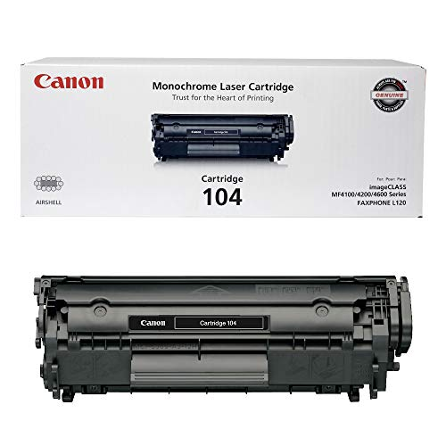 Canon Genuine Toner, Cartridge 104 Black (0263B001), 1 Pack, for Canon imageCLASS D420, D480, MF4150d, MF4270dn, MF4350d, MF4370dn, MF4690 Laser Printers and FAXPHONE L120, L90