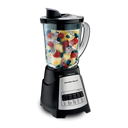 Hamilton Beach Power Elite Blender with 12 Functions for Puree, Ice Crush, Shakes and Smoothies and 40 Oz BPA Free Glass Jar, Black and Stainless Steel (58148A)