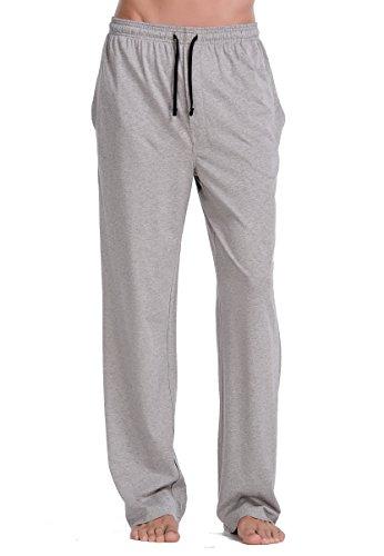 CYZ Comfortable Jersey Cotton Knit Pajama Lounge Sleep Pants -Melange Grey-L