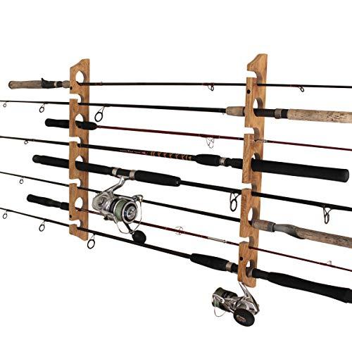 Rush Creek Creations 2 in 1, 8 Fishing Rod/Pole Storage Wall/Ceiling Rack, American Cherry (38-3020)