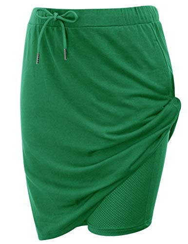 JACK SMITH Women's Mid-Length Tennis Skirt Skirted Shorts with Pockets(L,Green)