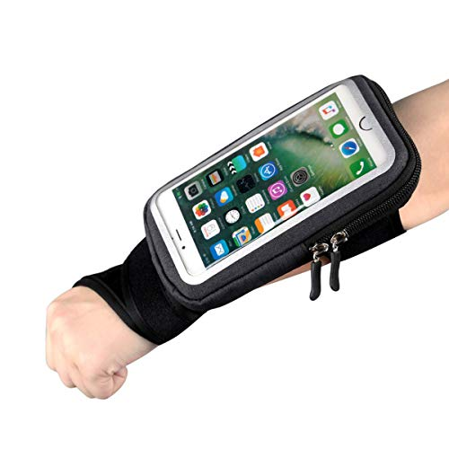 HAISSKY Wrist Bag Forearm Band Cell Phone Holder, Riding Wristband Pouch Bag with Key Card Cash Holder for Cycling, Jogging, Exercise, for Smartphone Up to 6 Inchs