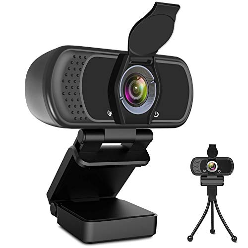 1080P Webcam Web Camera with Microphone, HD Webcam Computer Cam with Cover and Stand, Plug and Play Webcam for PC Laptop Desktop Smart TV Video Streaming, Gaming, Conference, Online Classes Zoom Skype