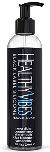 Premium Silicone Sex Lubricant by Healthy Vibes, 8 Oz Longest Lasting Personal Lube [Sensitive Skin on Women, Men, and Couples] Intimate Black Label   Paraben & Glycerin Free