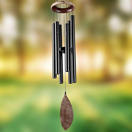 Epartswide Wind Chimes for Outside Deep Tone 36' Memorial Wind Chime with 6 Tuned Tubes Soothing Melodic Tones Sympathy Gifts for Grandma Patio Garden Home Decor (Black)