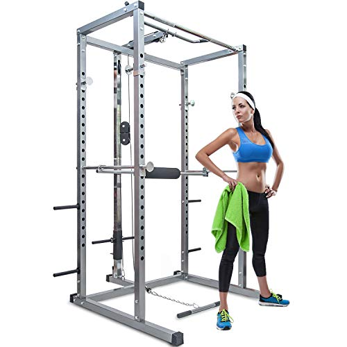 Merax Athletics Fitness Power Rack Olympic Squat Cage Home Gym with LAT Pull Attachment (Silver Power Rack)