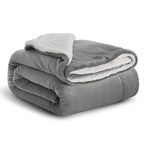 Bedsure Sherpa Fleece Baby Throw Blankets Unisex for Boys, Girls, Kids, Toddler, Infant, Newborn, Child 40x50 inches, Grey - Fuzzy Warm Cozy Soft Thick Winter Blanket, Plush Microfiber, for Crib