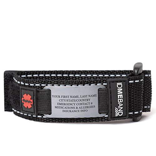 Gone For a Run Personalized Tech Nylon IDmeBAND   Safety Identification Bracelet   Black   LG